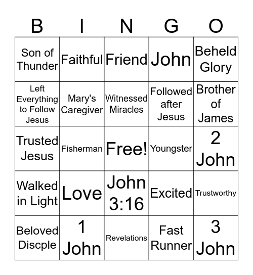 Beloved Discple Bingo Card