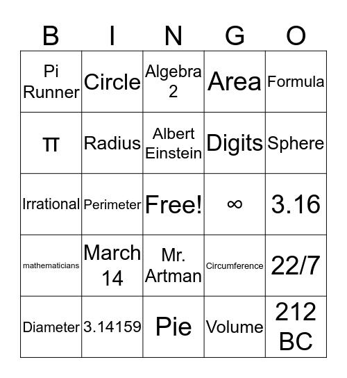 Pi Bingo! Bingo Card