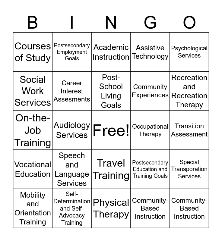Transition Services BINGO Card
