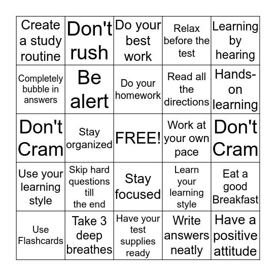 Study Skills  Bingo Card