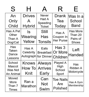 GET TO KNOW YOU! Bingo Card