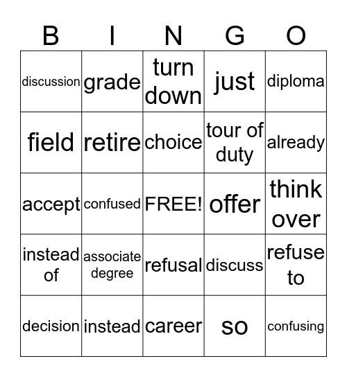 Book 12 Lesson 2 Bingo Card