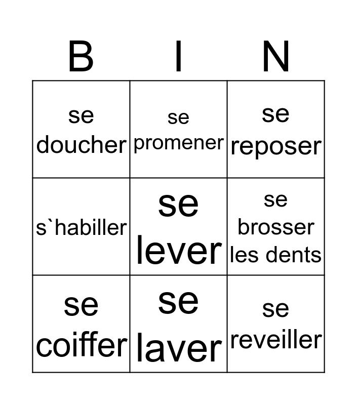 Les activités quotidiennes Bingo Card
