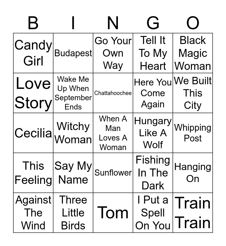 Boondocks Music Bingo 57-9 Bingo Card