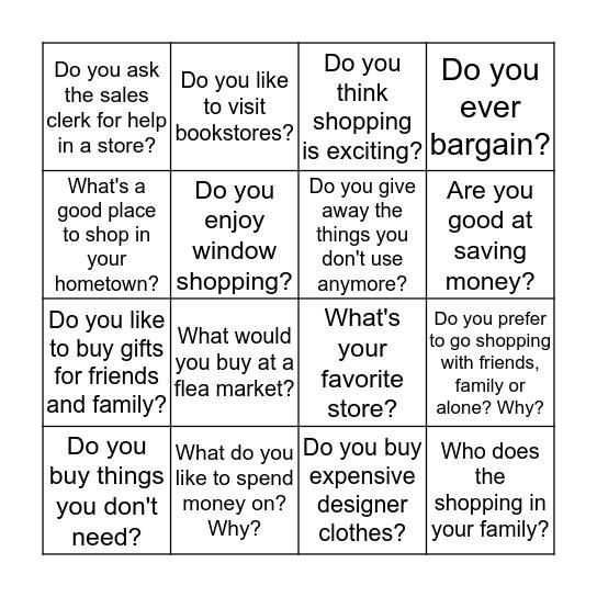 Survey bingo_speaking Bingo Card