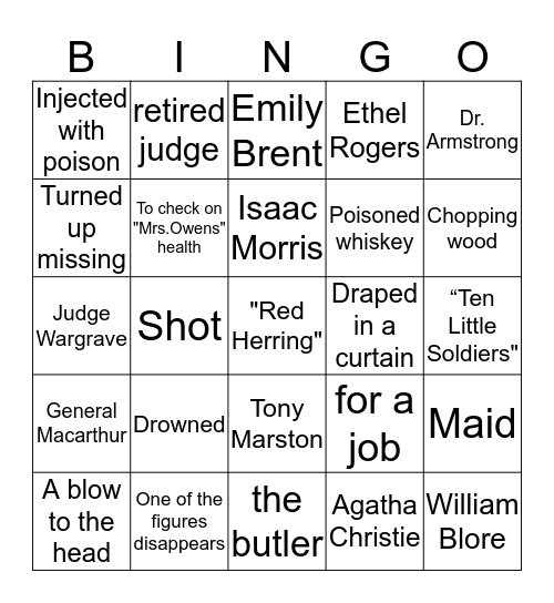 And Then There Were None Bingo Card