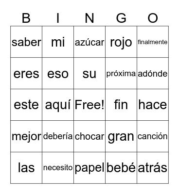 2nd Grade  Spanish Words Bingo Card