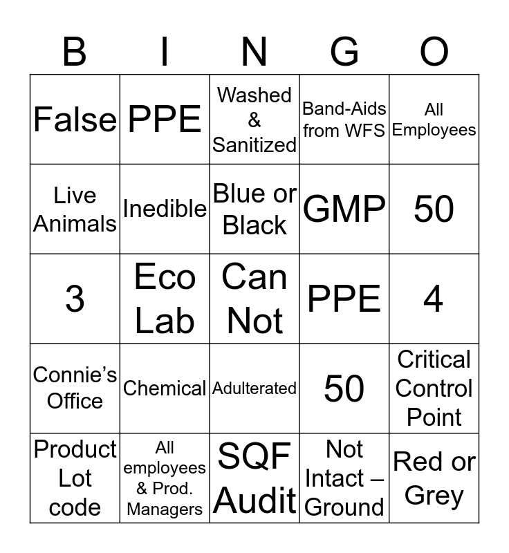 2019 Plant Training    3-8-19 Bingo Card