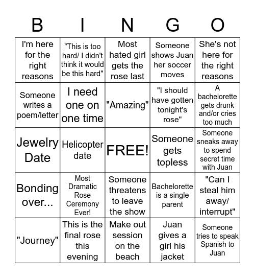 Bachelor Bingo - Juan Pablo! Bingo Card