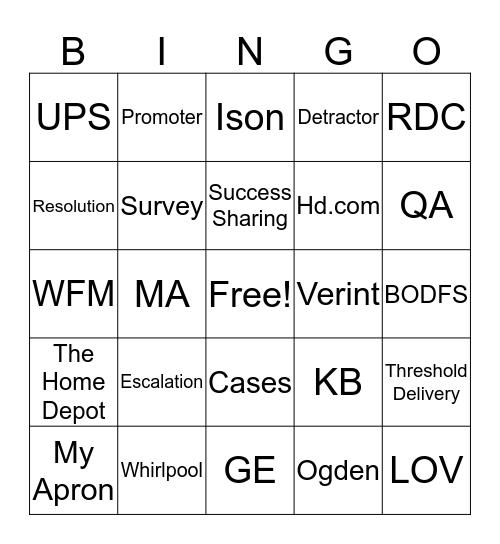 Home Depot Bingo Card