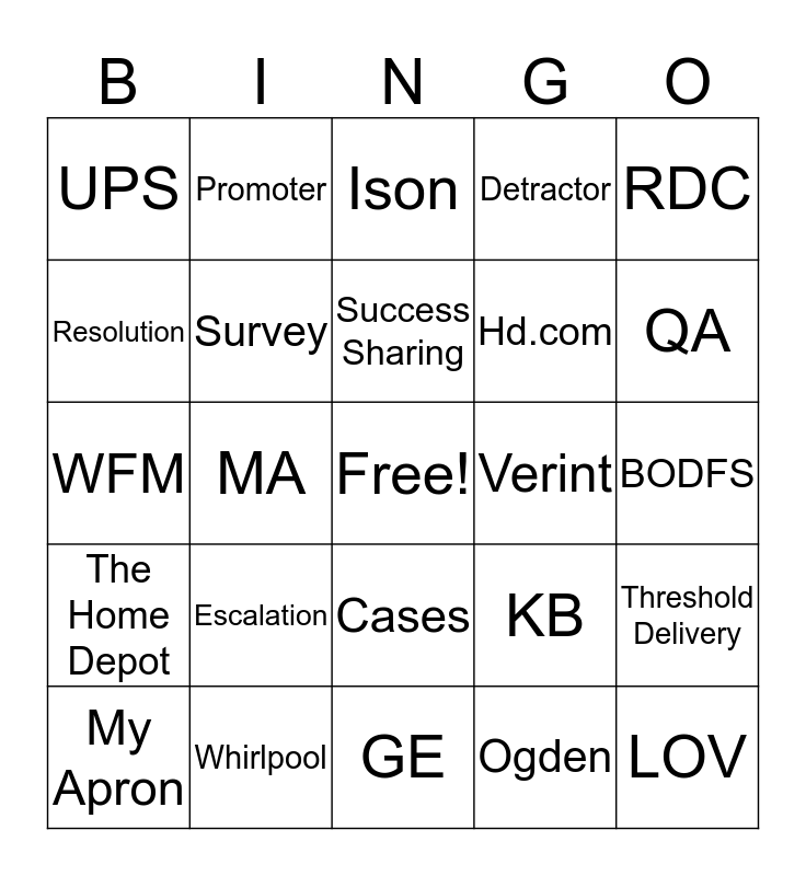 Home Depot Bingo Card