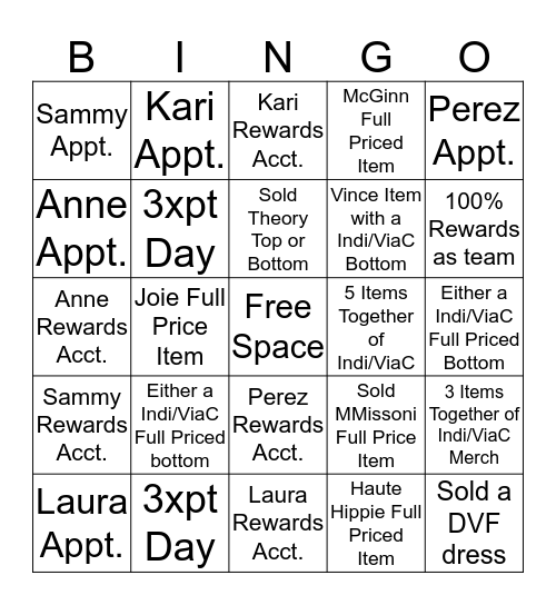 Indi/ViaC Team Bingo Card