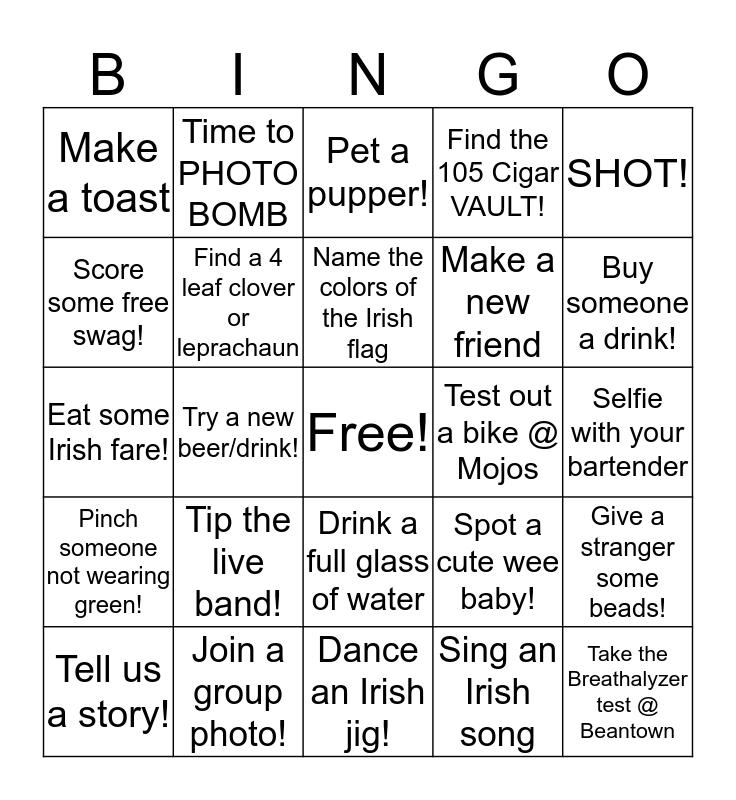 Shamrock Bingo Card