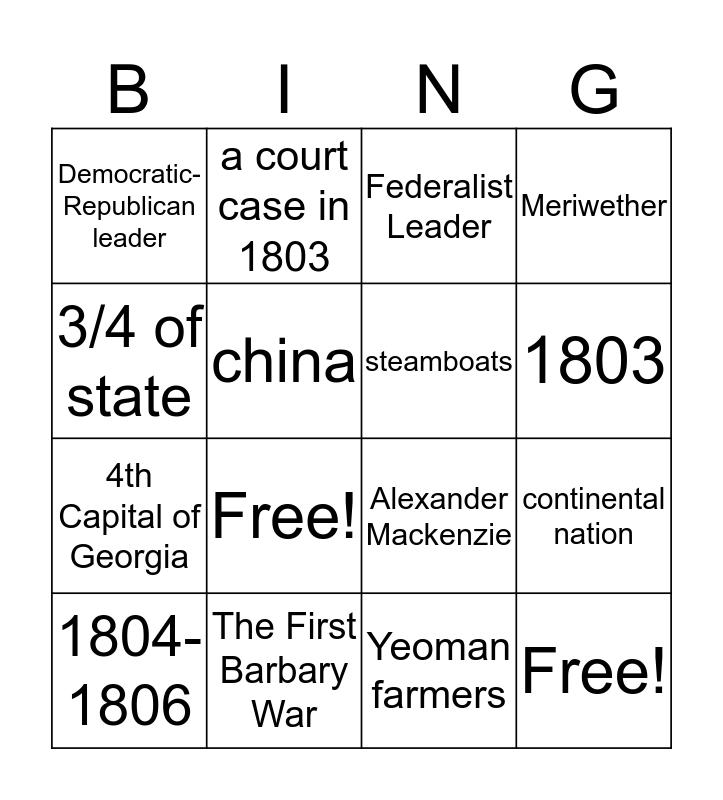 1800-1810: A Decade of Change Bingo Card