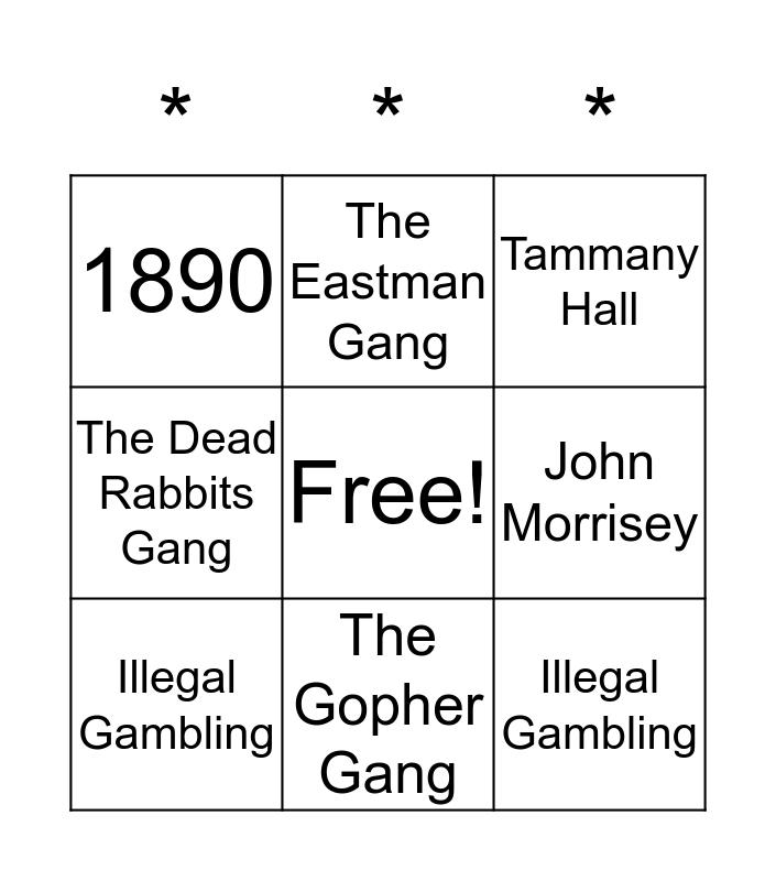 1920's Gangsters Bingo Card