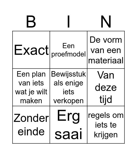Woorden bingo Card