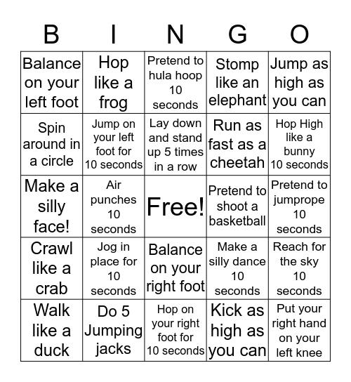 Let's Get Moving! Bingo Card