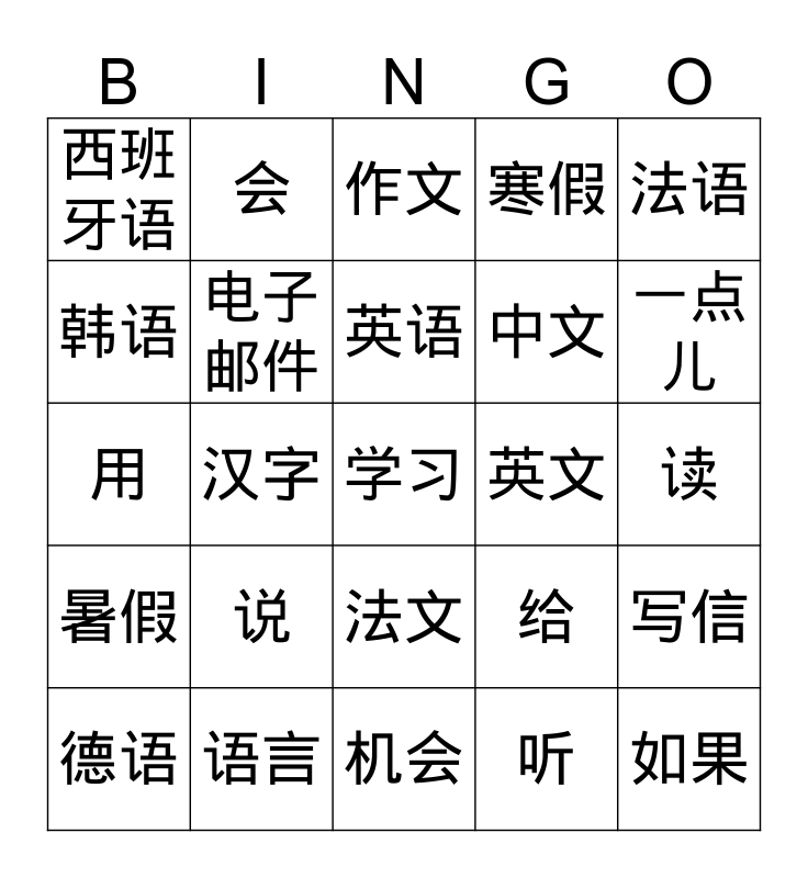 G6-U5L18-Languages Bingo Card
