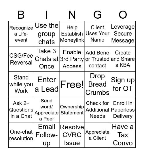 eServices Bingo Card