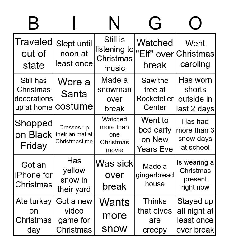 CHRISTMAS BREAK CATCH-UP Bingo Card