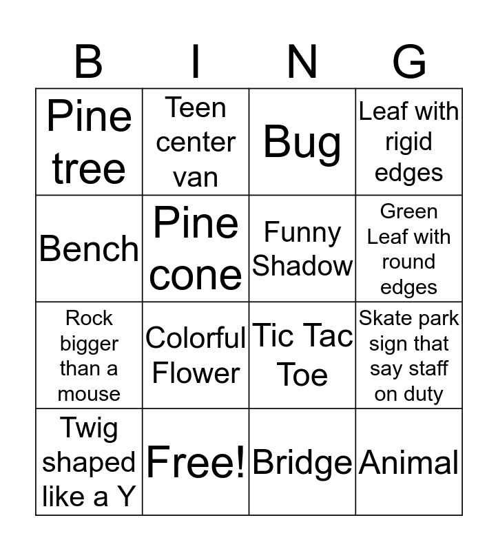 Teen Center Photo Scavenger Bingo Card