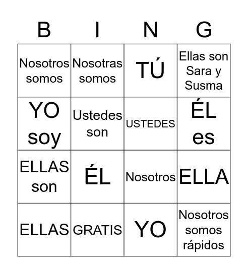 """Verbo """"Ser"""" y Pronombres Bingo Card"""