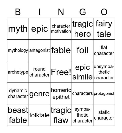 E2:  Unit 5 Literary Terms Bingo Card