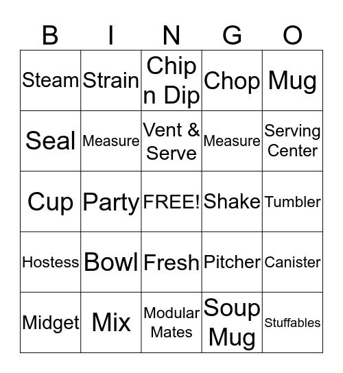 Tupperware Bingo Card