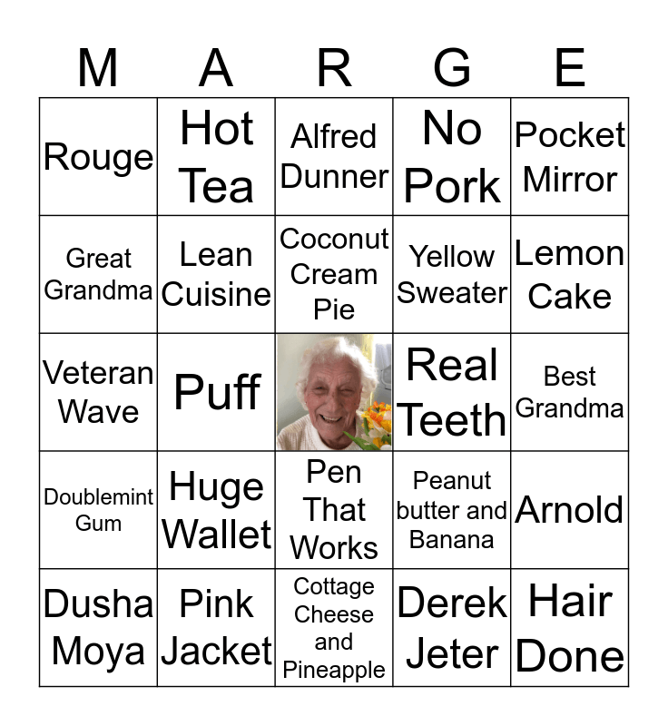 All Things Marge! Bingo Card