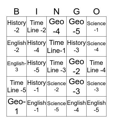 BTG 1-12 Bingo Card