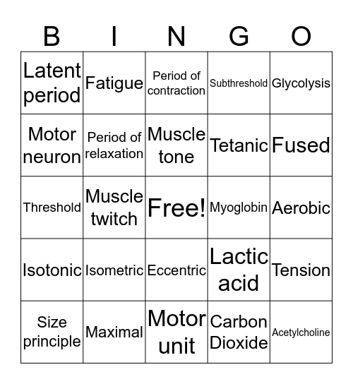 Chapter 9 Bingo Card