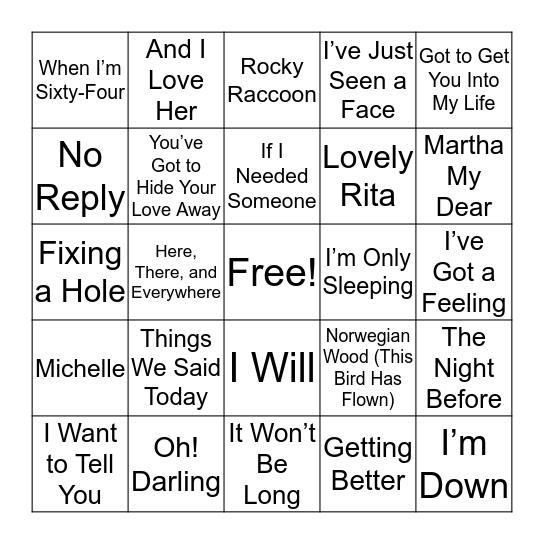 Beatles Deep(Ish) Tracks Bingo Card