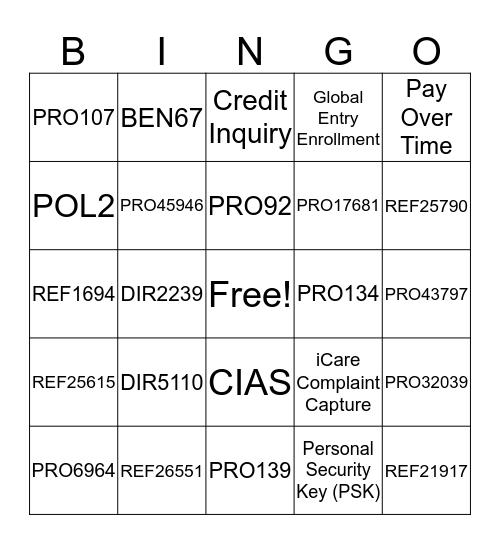 ECCO Bingo! Bingo Card