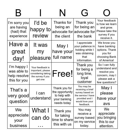 Friday Fun Bingo Card