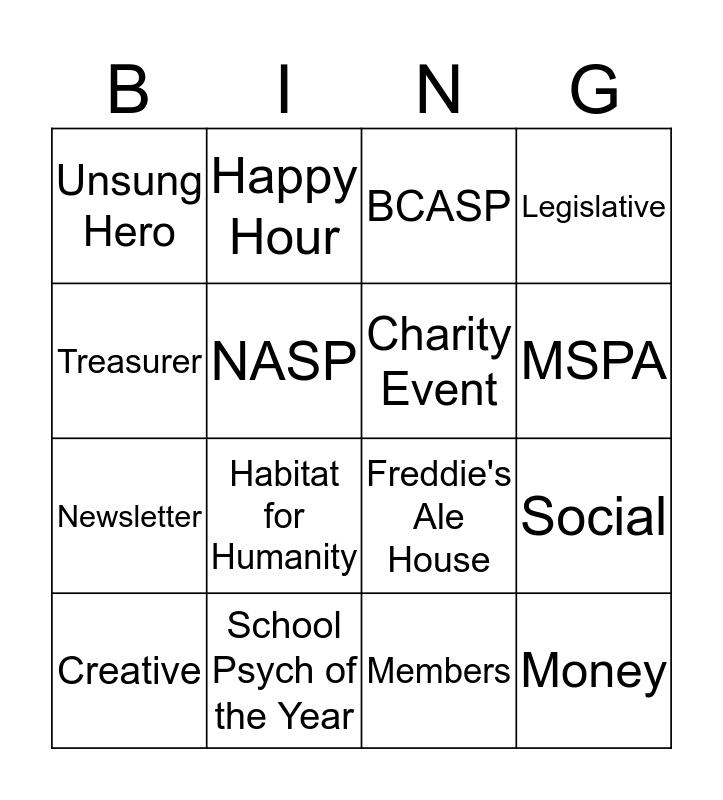 BCASP Meeting Bingo Card