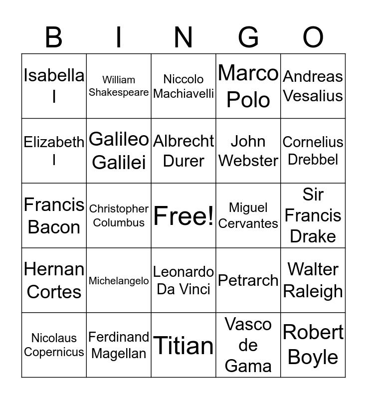 Renaissance Person Bingo Card
