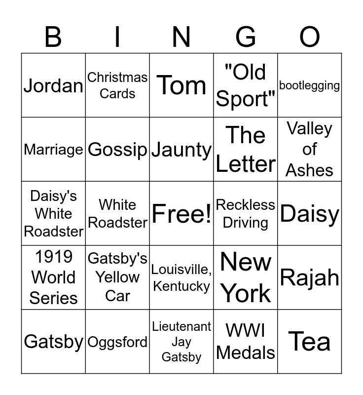The Great Gatsby Ch.4 Bingo Card