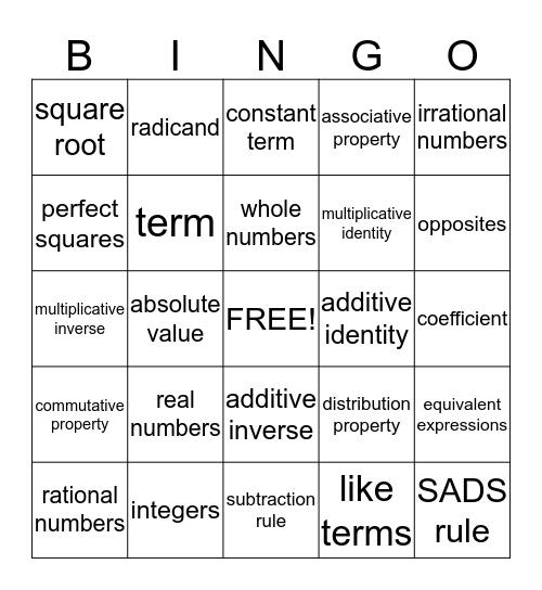 Algebra 1 Unit 2 Bingo Card