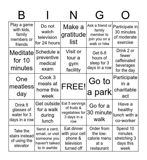 WELLNESS BINGO CHALLENGE Bingo Card