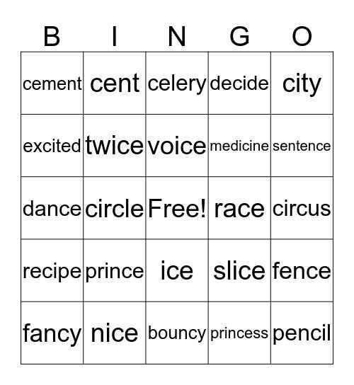 Soft C Bingo Card