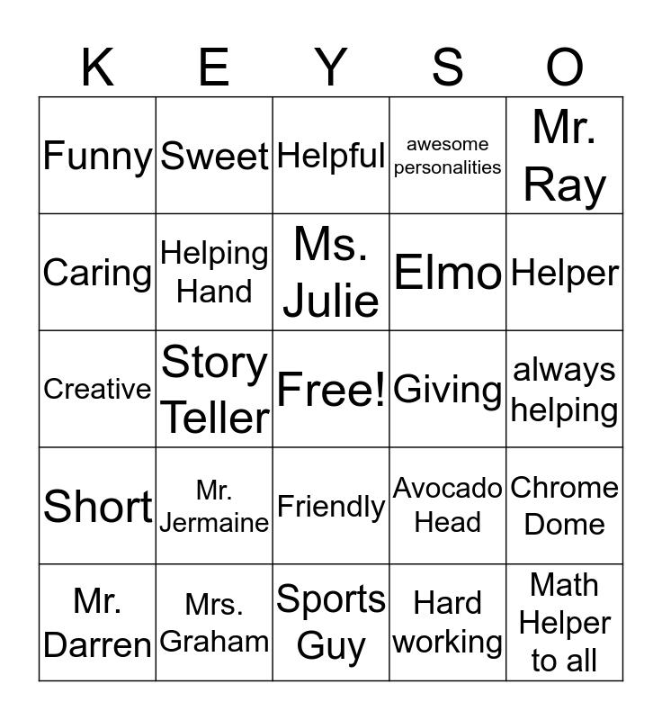 My teachers Bingo Card