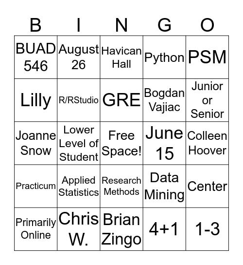 Data Science BINGO Card