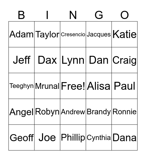 FBO Family  Bingo Card