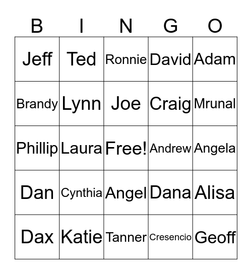 FBO Family  Bingo Card