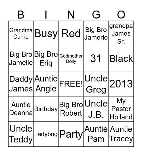 Alaina's Bingo Card