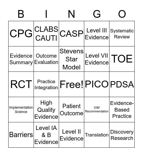Evidence-Based Practice Workshop Bingo Card