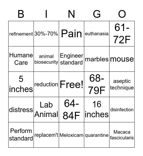 AAALAC Pfun  Bingo Card