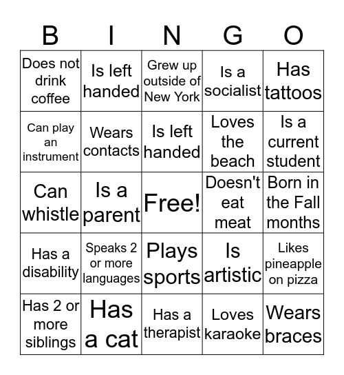 Mingle Bingo Card