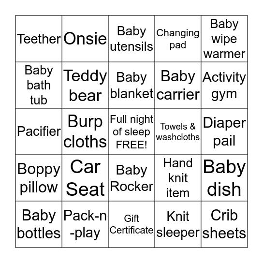 Brenda & Scott's Baby Bingo Card