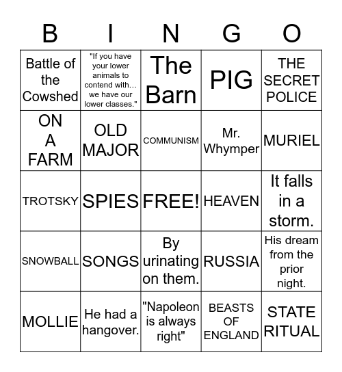 ANIMAL FARM Bingo Card
